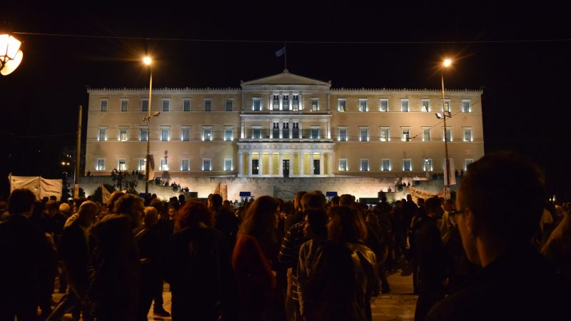 Hellenic Parliament at night from Syntagma Square